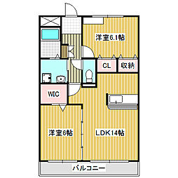 愛知県名古屋市中川区江松1の賃貸マンションの間取り
