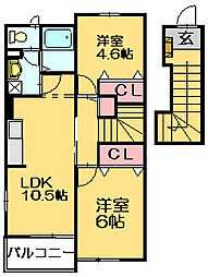 シャトーポルトIIB[2階]の間取り