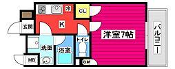 仙台市地下鉄東西線 大町西公園駅 徒歩7分の賃貸マンション 3階1Kの間取り