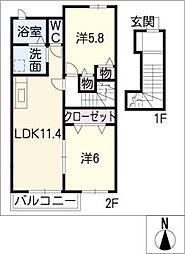 ソレアードKIIIA[2階]の間取り