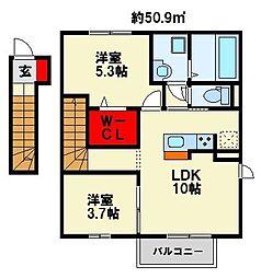 仮)D−room与原CⅡ B棟[2階]の間取り