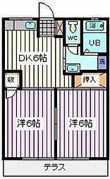 埼玉県さいたま市南区鹿手袋4丁目の賃貸アパートの間取り