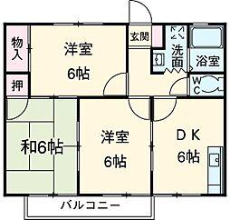 愛知県安城市東明町の賃貸アパートの間取り