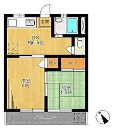 鵠沼ビーナマンションA棟[23号室]の間取り