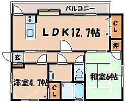 広島県安芸郡海田町窪町の賃貸アパートの間取り