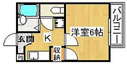 リバーハイツ[4階]の間取り