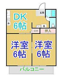 田金マンションB[2階]の間取り