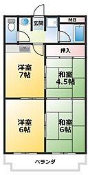 三番町マンション 2階3DKの間取り