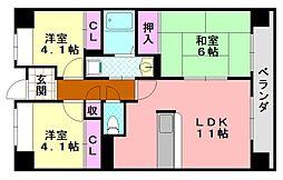 サニークレスト平野西脇[704号室]の間取り