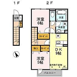 神奈川県相模原市中央区中央5丁目の賃貸アパートの間取り