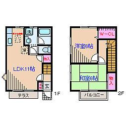 [テラスハウス] 神奈川県横浜市鶴見区下末吉2丁目 の賃貸【/】の間取り
