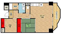 オーセント住之江[4階]の間取り