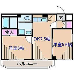 神奈川県横浜市港北区篠原町の賃貸マンションの間取り