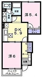 豊岡市中陰 ハピネス・ヒロ[1階]の間取り