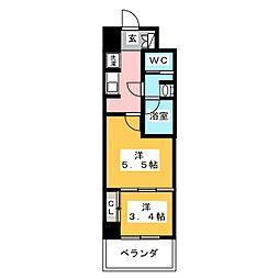 愛知県名古屋市中区正木1丁目の賃貸マンションの間取り