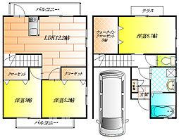 [テラスハウス] 大阪府藤井寺市沢田3丁目 の賃貸【/】の間取り