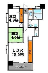 福岡県福岡市中央区天神4丁目の賃貸マンションの間取り