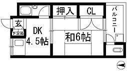 兵庫県宝塚市中筋山手2丁目の賃貸アパートの間取り