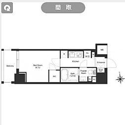 都営大江戸線 新御徒町駅 徒歩11分の賃貸マンション 6階1Kの間取り