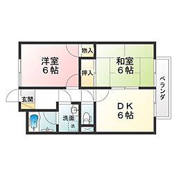 滋賀県甲賀市甲南町深川の賃貸アパートの間取り