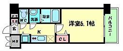 プレサンス京町堀ノース 9階1Kの間取り