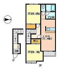 兵庫県多可郡多可町中区安楽田の賃貸アパートの間取り