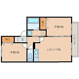 奈良県奈良市四条大路5丁目の賃貸アパートの間取り