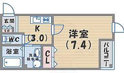JR東海道・山陽本線 西宮駅 徒歩13分の賃貸マンション 2階1Kの間取り