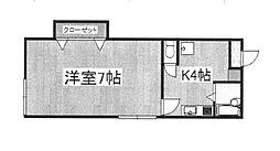 東京都新宿区須賀町の賃貸アパートの間取り