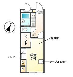 愛知県日進市浅田町東田面の賃貸アパートの間取り