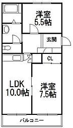 北海道札幌市手稲区富丘三条7丁目の賃貸マンションの間取り