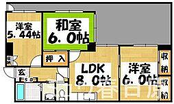 福岡県春日市紅葉ヶ丘東5丁目の賃貸マンションの間取り