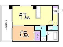 ロックヒルズ札幌 8階1LDKの間取り