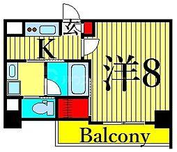JR山手線 日暮里駅 徒歩11分の賃貸マンション 2階1Kの間取り