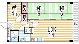 パークメゾン三箇弐番館[1階]の間取り