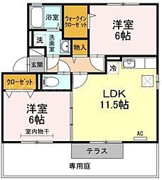 香川県高松市牟礼町原の賃貸アパートの間取り