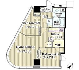 JR山手線 代々木駅 徒歩3分の賃貸マンション 13階2LDKの間取り