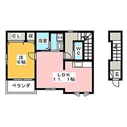 ミルト新富士 2階1LDKの間取り