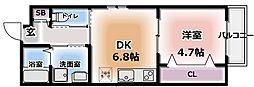 レユシール大枝 2階1DKの間取り