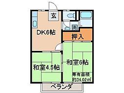 京都府京都市山科区竹鼻扇町の賃貸アパートの間取り