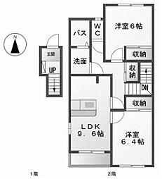 愛知県名古屋市中村区猪之越町2丁目の賃貸アパートの間取り