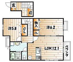 福岡県北九州市小倉北区南丘2丁目の賃貸アパートの間取り