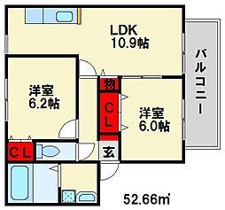 福岡県春日市昇町7丁目の賃貸アパートの間取り