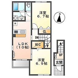 (仮称)前貝塚町新築アパートA棟 2階2LDKの間取り