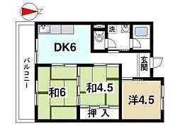 奈良県奈良市大倭町の賃貸マンションの間取り