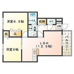 大阪府大阪市平野区長吉六反5丁目の賃貸アパートの間取り