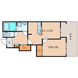 奈良県香芝市磯壁の賃貸アパートの間取り