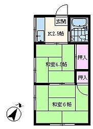 コーポ取田[202号室]の間取り