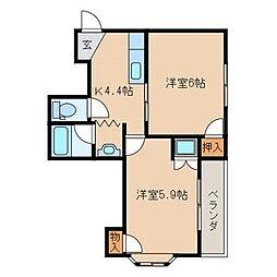 エリーナプラザ藤崎[2階]の間取り