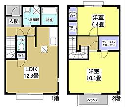 [タウンハウス] 静岡県袋井市春岡1丁目 の賃貸【/】の間取り